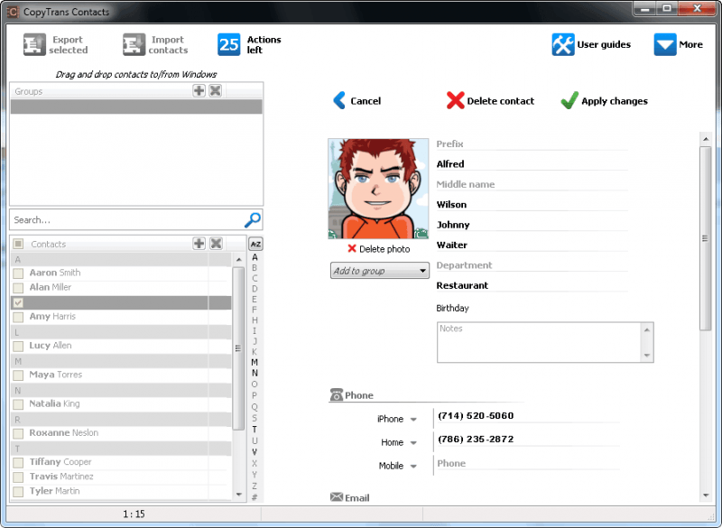 Tampilan Edit kontak di CopyTrans Contacts