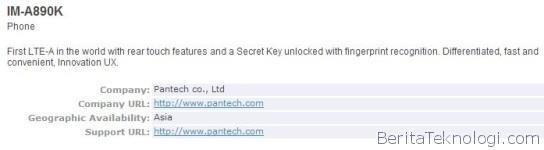 Varian Pantech IM-A890 Kedua Dapatkan Sertifikasi Bluetooth