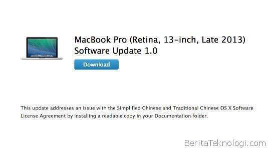 Infotek: Apple Baharui Software MacBook Pro Untuk Model Retina Display 13 Inci