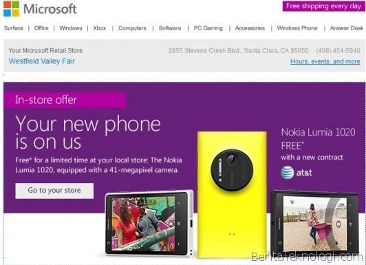 Infotek: Pecinta Smartphone di Amerika Bisa Dapatkan Lumia 1020 Gratis dari Microsoft