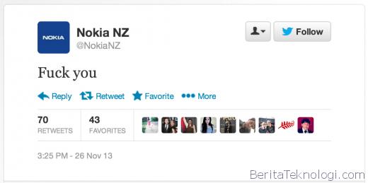 Infotek: Wew, Akun Twitter Resmi Nokia Lakukan Blunder dengan Tweet F*** You