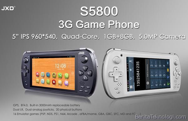 Infotek: JXD S5800, Smartphone Android Gaming Berlayar 5 Inci serta Prosesor Quad Core yang Bisa Dibuat Teleponan