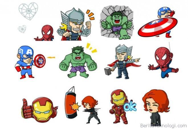 ... WeChat juga menyediakan stiker super hero populer lainnya dari Marvel