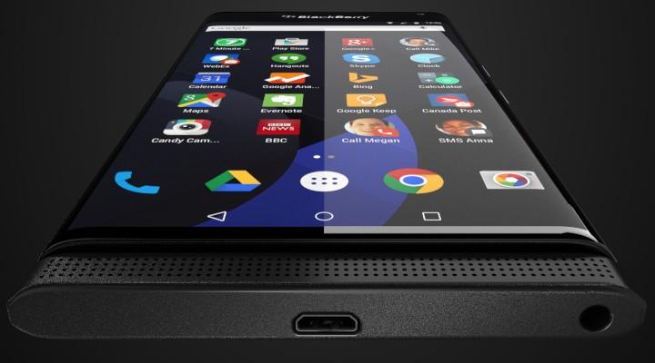 BlackBerry Venice yang tampak dengan UI OS Android Lollipop
