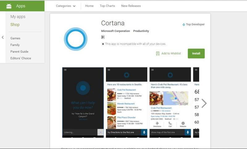 Cortana on Play Store