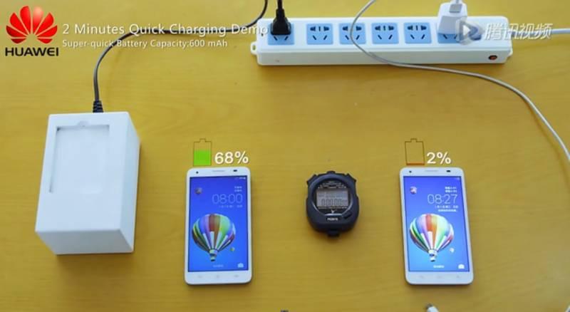 Demo Quick Charging Huawei (Kredit: Androidheadlines)