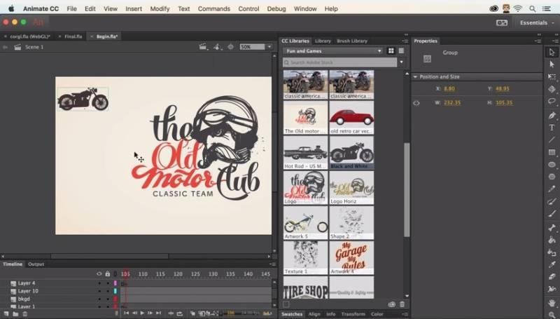 Tampilan Adobe Animate CC