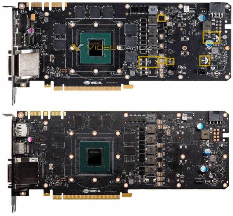 Perbedaan PCB dari VGA card Nvidia GeForce GTX 1070 (atas) dan GeForce GTX 1080 (bawah)
