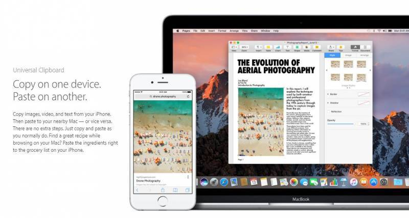 Fitur Universal Clipboard macOS Sierra (kredit: Apple)
