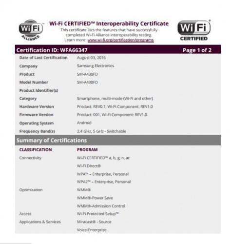 Samsung Galaxy A4 sertifikasi WiFi