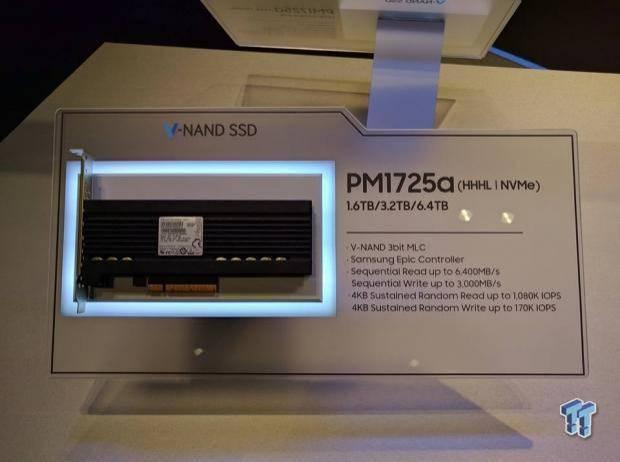 SSD Samsung PM1725a dengan slot PCIe 8x yang dikenalkan pada acara Flash Memory Summit 2016 (Kredit: TweakTown)