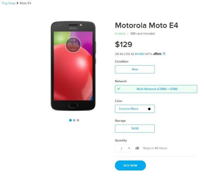 Moto E4 Ting